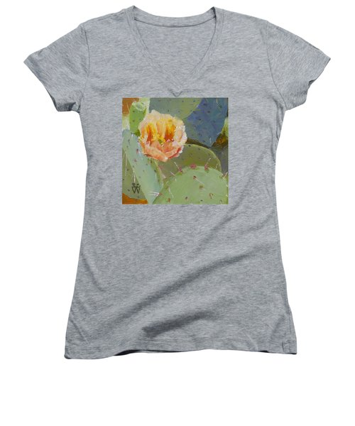 Prickly Pear Blossom Women's V-Neck (Athletic Fit)
