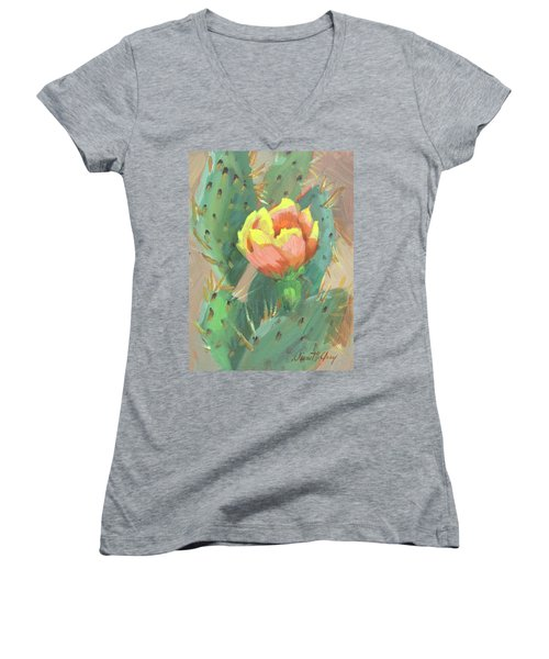 Women's V-Neck T-Shirt (Junior Cut) featuring the painting Prickly Pear Cactus Bloom by Diane McClary