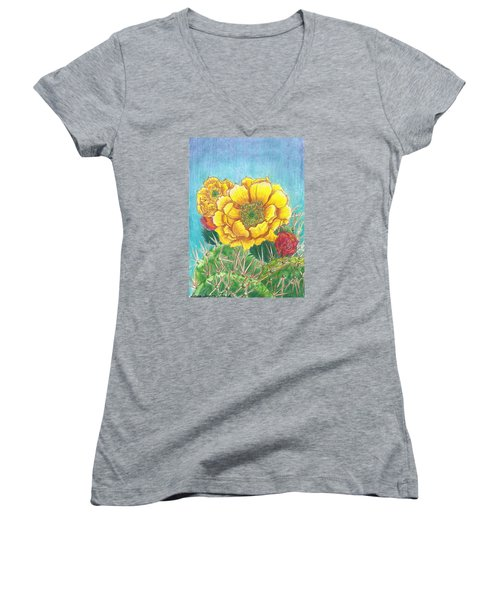 Women's V-Neck T-Shirt (Junior Cut) featuring the drawing Prickly Pear Cactus Flowering by Dawn Senior-Trask