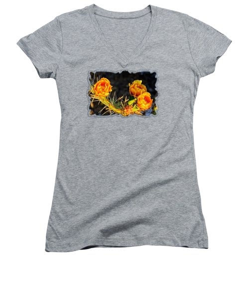 Prickly Pear Flowers Op49 Women's V-Neck T-Shirt (Junior Cut) by Mark Myhaver
