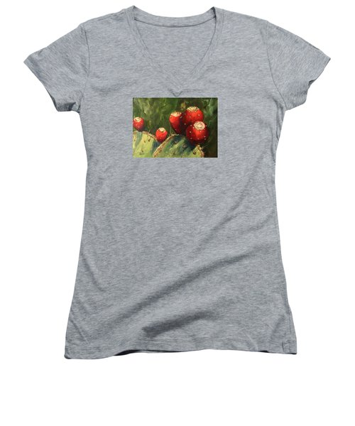 Prickly Pear IIi Women's V-Neck T-Shirt (Junior Cut) by Torrie Smiley