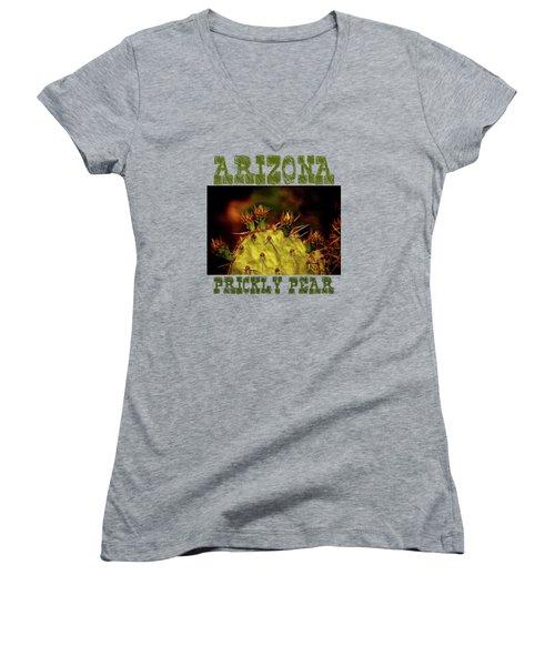 Prickly Pear Spring Women's V-Neck T-Shirt (Junior Cut) by Roger Passman