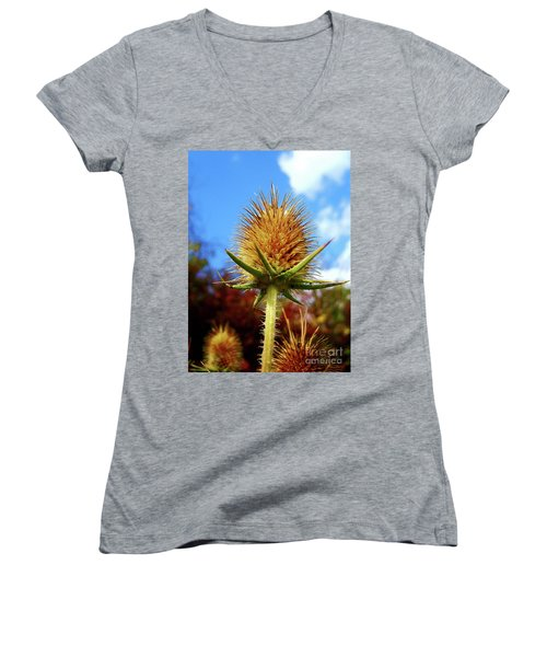 Women's V-Neck T-Shirt (Junior Cut) featuring the photograph Prickly Thistle by Nina Ficur Feenan
