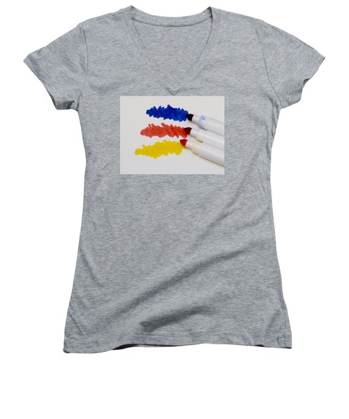 Primary Colors Women's V-Neck T-Shirt (Junior Cut) by Marion McCristall