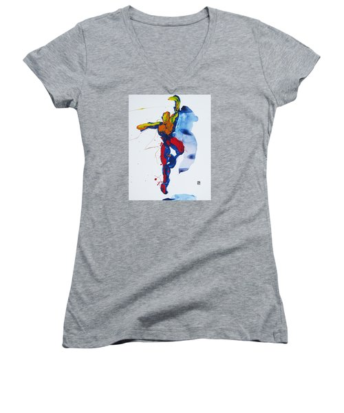 Primary Vertical Jump Shadow Women's V-Neck T-Shirt (Junior Cut) by Shungaboy X
