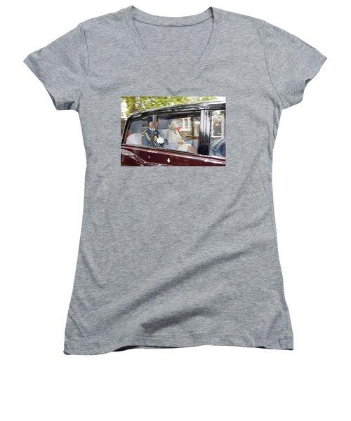 Prince Charles And Camilla Women's V-Neck T-Shirt (Junior Cut) by KG Thienemann