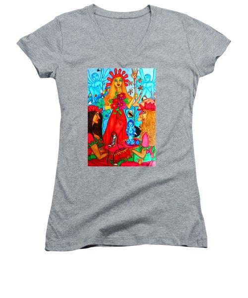Women's V-Neck T-Shirt (Junior Cut) featuring the painting Princess Countrywoman. by Don Pedro De Gracia