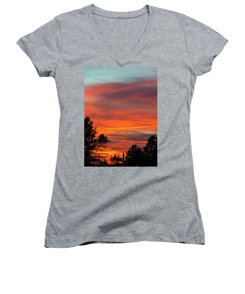 Women's V-Neck T-Shirt (Junior Cut) featuring the photograph Princeton Junction Sunset by Steven Richman