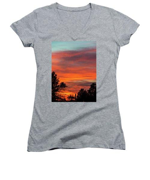 Princeton Junction Sunset Women's V-Neck T-Shirt