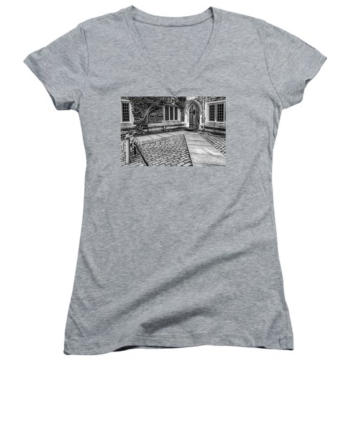 Women's V-Neck T-Shirt (Junior Cut) featuring the photograph Princeton University Foulke Hall Bw by Susan Candelario
