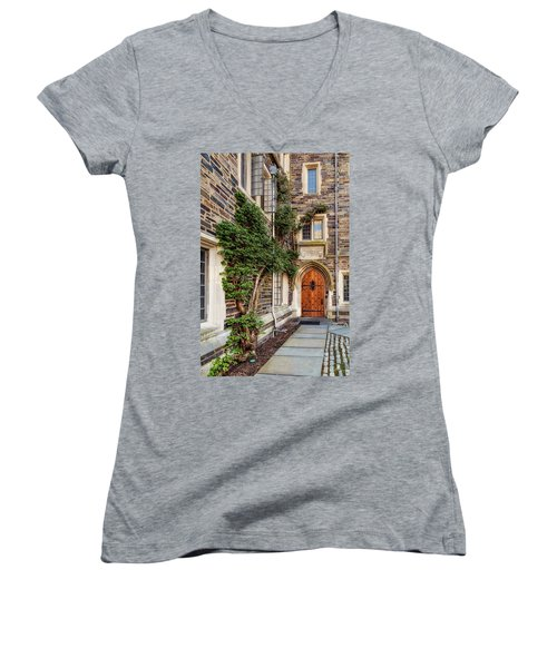 Women's V-Neck T-Shirt (Junior Cut) featuring the photograph Princeton University Foulke Hall II by Susan Candelario