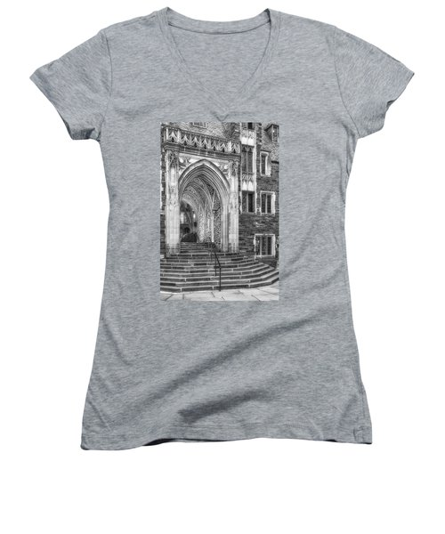 Women's V-Neck T-Shirt (Junior Cut) featuring the photograph Princeton University Lockhart Hall Dorms Bw by Susan Candelario