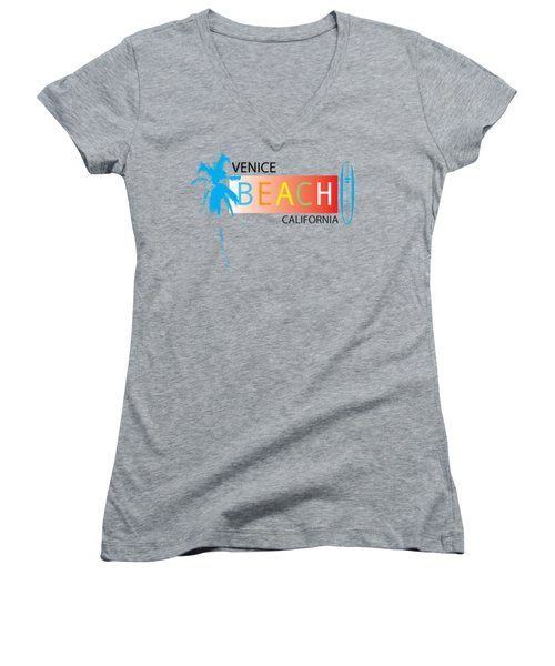 Venice Beach California T-shirts And More Women's V-Neck T-Shirt (Junior Cut) by K D Graves