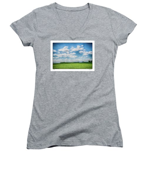Women's V-Neck T-Shirt (Junior Cut) featuring the photograph Prison Barn by R Thomas Berner