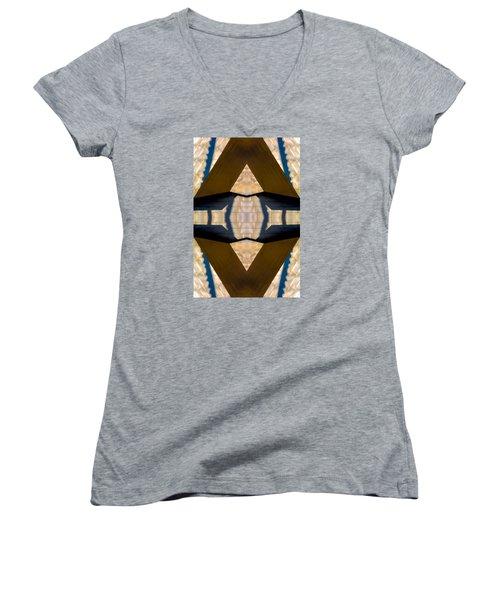 Pritzker Pavilion Gehry N79v2 Women's V-Neck T-Shirt (Junior Cut) by Raymond Kunst