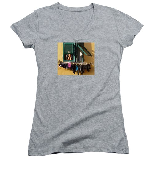 Private Moments Women's V-Neck T-Shirt (Junior Cut) by Amelia Racca