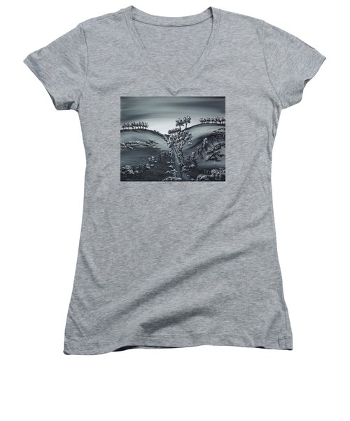 Women's V-Neck T-Shirt (Junior Cut) featuring the painting Private Road by Kenneth Clarke