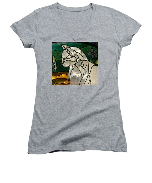 Profile Of A Cat Women's V-Neck T-Shirt (Junior Cut) by Marie Neder