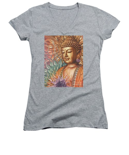 Proliferation Of Peace - Buddha Art By Christopher Beikmann Women's V-Neck (Athletic Fit)