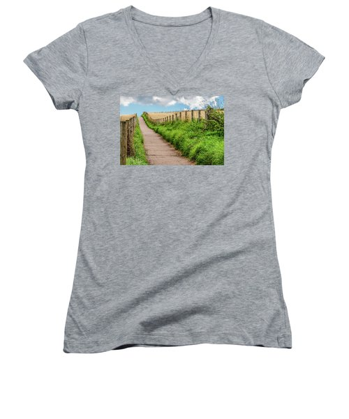 Promenade In Stonehaven Women's V-Neck T-Shirt (Junior Cut) by Sergey Simanovsky