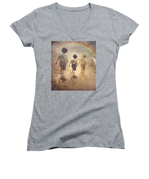 Phases Of The Journey--the Promise Of The Rainbow Women's V-Neck T-Shirt