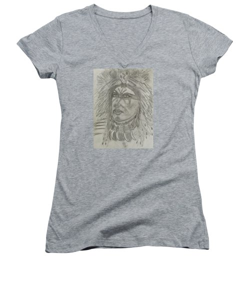 Women's V-Neck T-Shirt (Junior Cut) featuring the drawing Proud Nation by Sharyn Winters