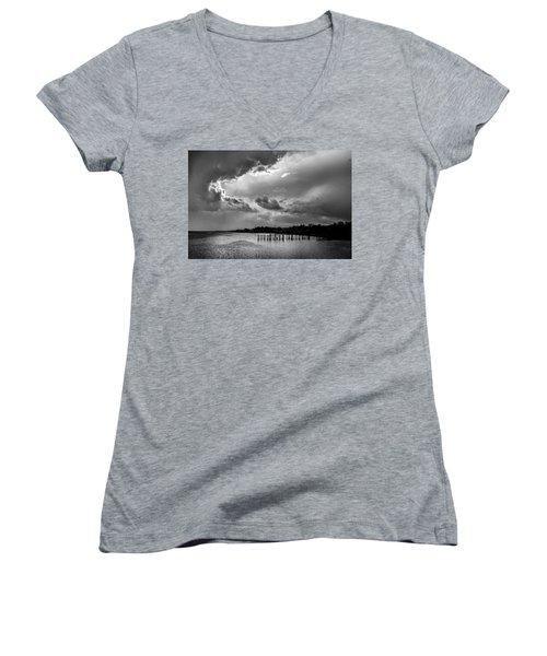Provincetown Storm Women's V-Neck T-Shirt (Junior Cut) by Charles Harden
