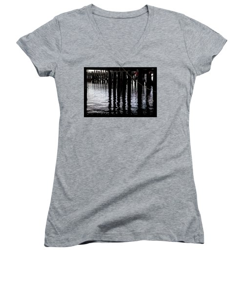 Provincetown Wharf Reflections Women's V-Neck T-Shirt (Junior Cut) by Charles Harden