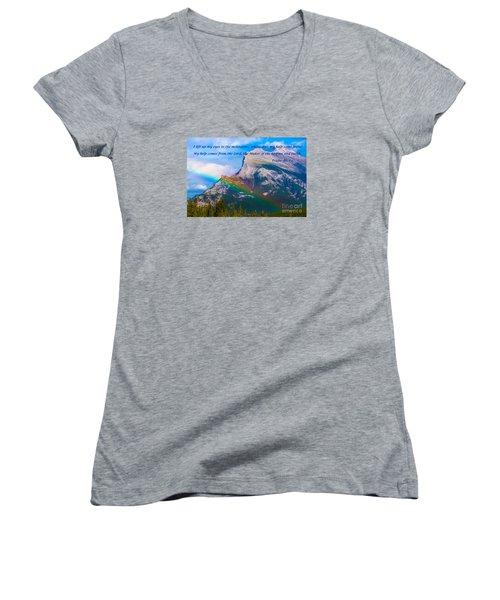 Psalm 121   1-2 Women's V-Neck T-Shirt (Junior Cut) by John Roberts