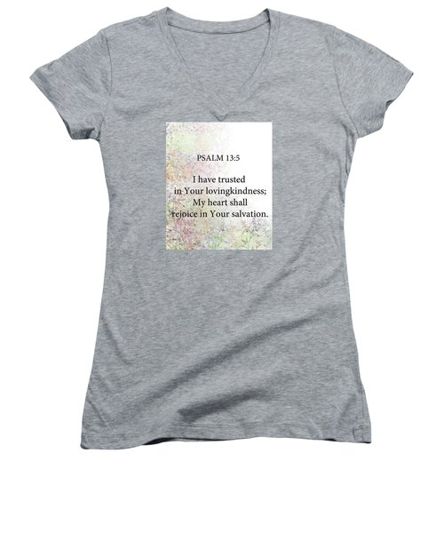Women's V-Neck T-Shirt (Junior Cut) featuring the digital art Psalm 13 5 by Trilby Cole