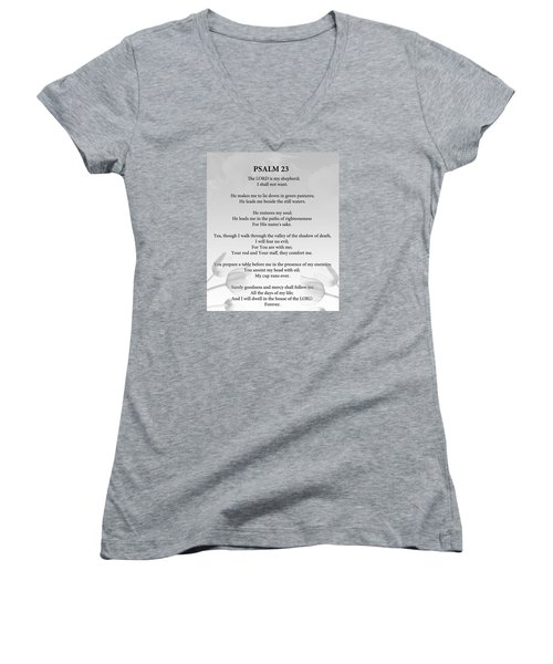 Women's V-Neck T-Shirt (Junior Cut) featuring the painting Psalm 23 by Trilby Cole