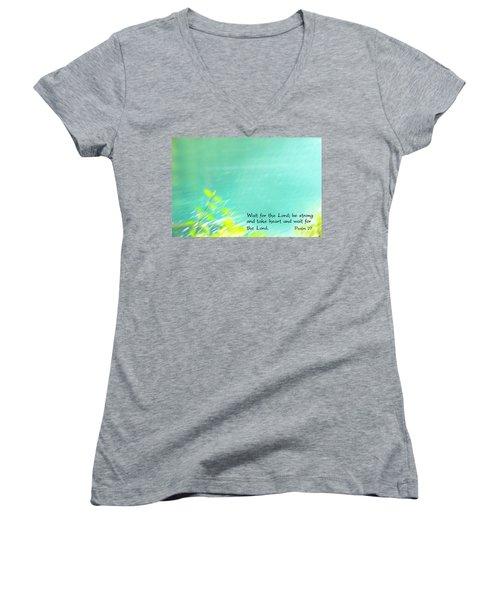 Psalm 27 Women's V-Neck T-Shirt (Junior Cut) by Catherine Alfidi