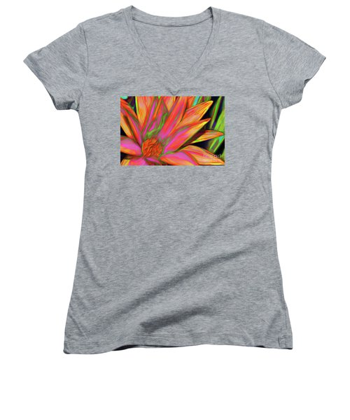Women's V-Neck T-Shirt featuring the photograph Psychedelic Daisy By Kaye Menner by Kaye Menner