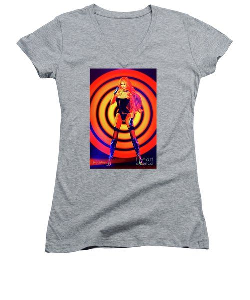 Psychedelic Hypnotic Pin-up Girl Women's V-Neck