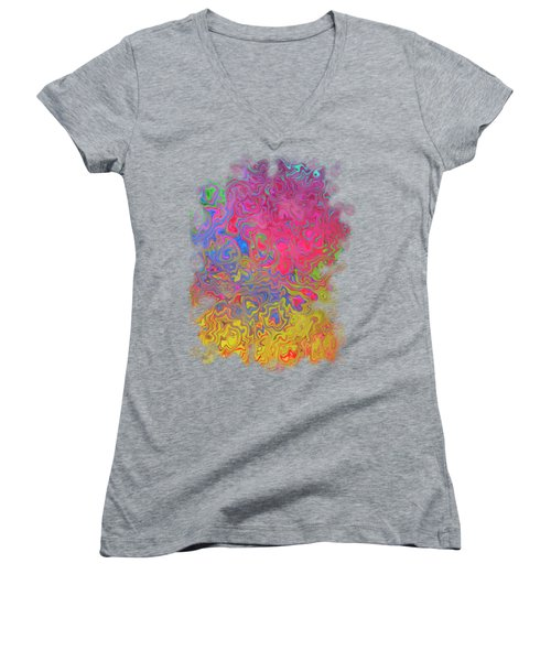 Psychedelic Laundry Transparent Design Women's V-Neck T-Shirt (Junior Cut) by Shelly Weingart