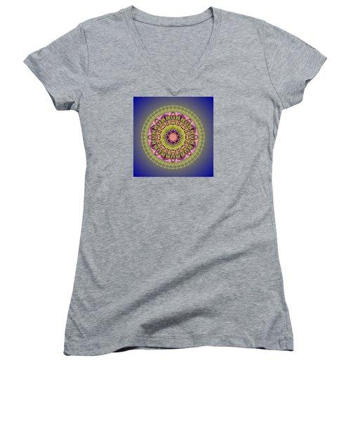 Psychedelic Mandala 001 A Women's V-Neck T-Shirt (Junior Cut) by Larry Capra