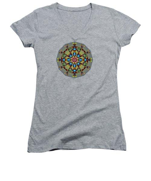Psychedelic Mandala 010 B Women's V-Neck T-Shirt (Junior Cut) by Larry Capra