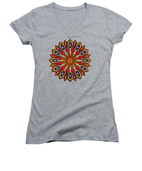 Psychedelic Mandala 012 A Women's V-Neck T-Shirt (Junior Cut) by Larry Capra