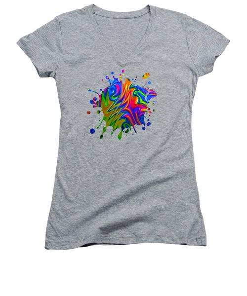 Psychedelic Rainbow Fractal Women's V-Neck