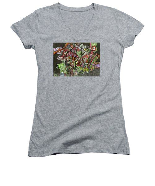Psychedelic Sea Creature Women's V-Neck (Athletic Fit)