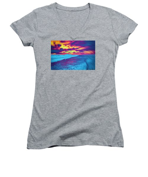 Psychedelic Sunset Women's V-Neck (Athletic Fit)