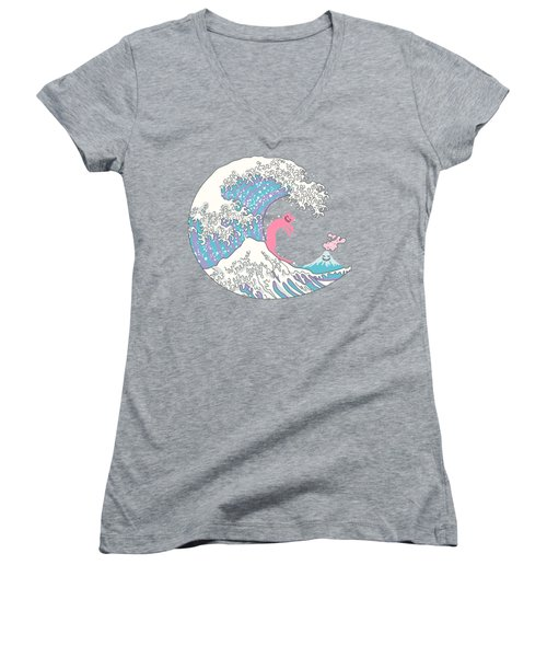 Psychodelic Bubblegum Kunagawa Surfer Cat Women's V-Neck T-Shirt (Junior Cut) by Julia Jasiczak