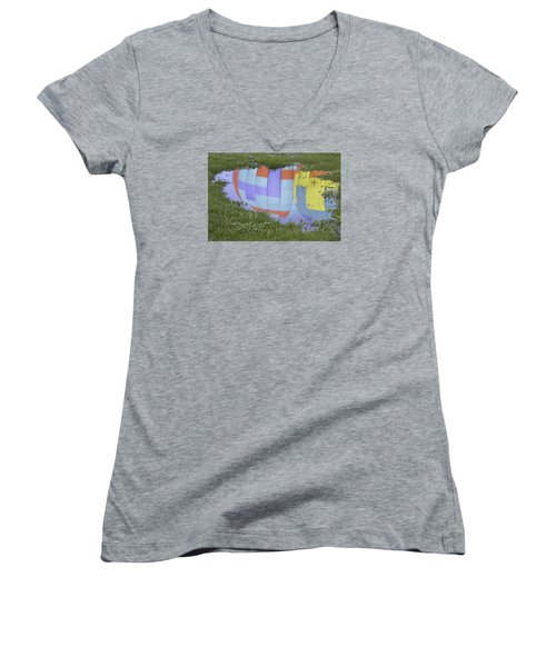 Women's V-Neck T-Shirt (Junior Cut) featuring the photograph Puddle Reflections by Linda Geiger