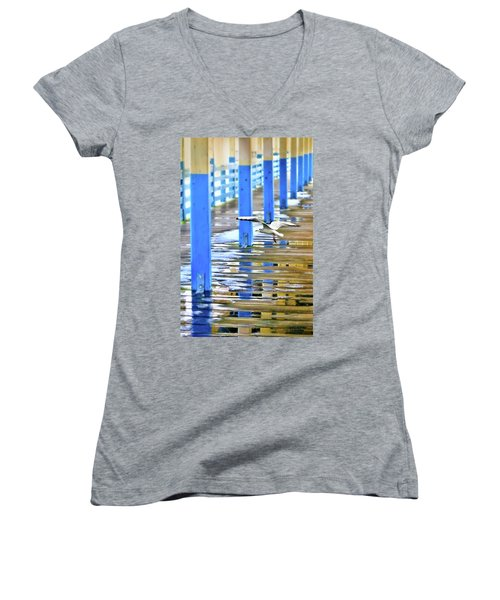 Women's V-Neck T-Shirt (Junior Cut) featuring the photograph Puddles by Diana Angstadt