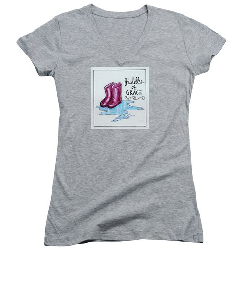 Women's V-Neck T-Shirt (Junior Cut) featuring the painting Puddles Of Grace by Elizabeth Robinette Tyndall