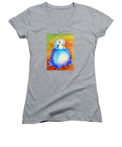 Pudgy Budgie Women's V-Neck T-Shirt (Junior Cut) by Patricia Piffath