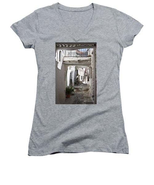 Women's V-Neck T-Shirt (Junior Cut) featuring the photograph Puebla Blanca Capileira by Heiko Koehrer-Wagner