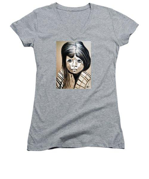 Pueblo Girl Women's V-Neck T-Shirt (Junior Cut) by Ayasha Loya