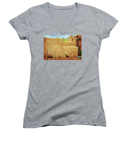 Women's V-Neck T-Shirt (Junior Cut) featuring the photograph Pueblo Village Settlers by Diana Angstadt