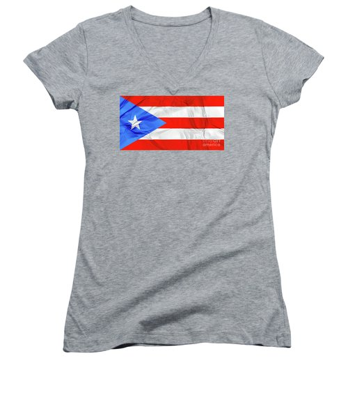 Puerto Rico Flag Women's V-Neck
